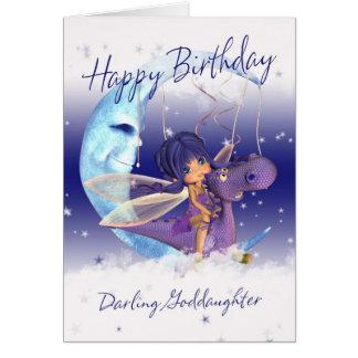Patenttochter-Geburtstagkarte, lila Drache mit Karte