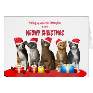 Patenttochter, Katzen in den Weihnachtshüten Karte