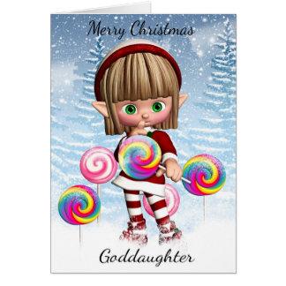 Patenttochter-kleiner Elf mit Süßigkeits-Pop und Karte