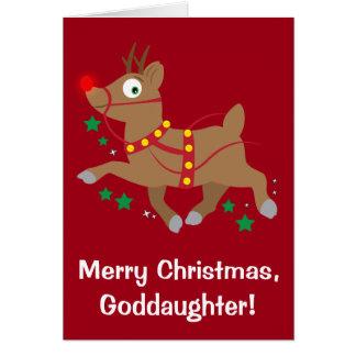 Patenttochter-Weihnachten mit rotnasigem Ren Karte