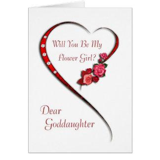 Patenttochter, wirbelndes Herz Blumen-Mädchen Karte