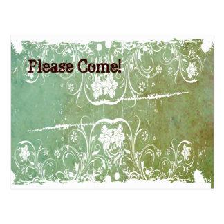 Patina-grüne Shabby Chic-Einladung Postkarte