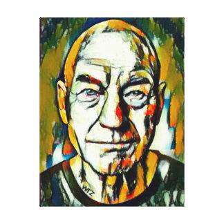 Patrick Stewart-Öl-Porträt Leinwanddruck