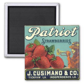 Patriot-ErdbeerVintage Frucht-Kisten-Aufkleber-Kun Magnete
