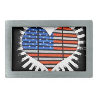 Patriot-Herz-amerikanische Flagge Rechteckige Gürtelschnalle