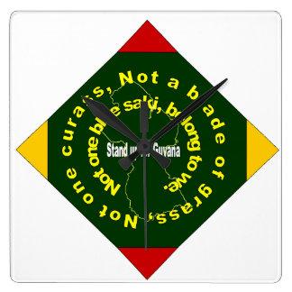 Patriotisch, Guyana-Diamant-Uhr Quadratische Wanduhr