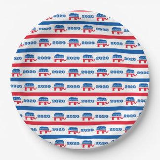 Patriotische 2020 republikanische Elefant-Streifen Pappteller