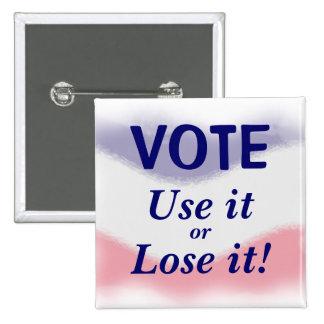 Patriotische Abstimmungs-politischer Knopf Quadratischer Button 5,1 Cm