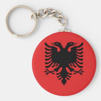 Patriotische albanische Flagge Standard Runder Schlüsselanhänger