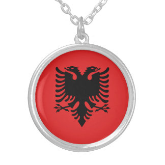 Patriotische albanische Flagge Versilberte Kette