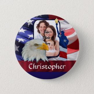 Patriotische amerikanische Ikonen-Fotoschablone Runder Button 5,7 Cm