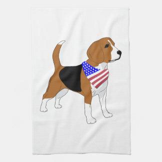Patriotische Beagle-Hundeamerikanische Handtuch