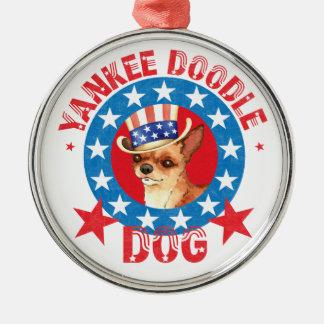 Patriotische Chihuahua Rundes Silberfarbenes Ornament