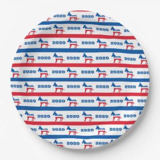 Patriotische Demokrat-Esel-Streifen 2020 Pappteller 22,9 Cm