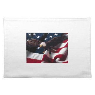 Patriotische Eagle-amerikanische Flagge Stofftischset