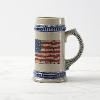 Patriotische Flagge-gebrochene getragene Farbe Bierglas