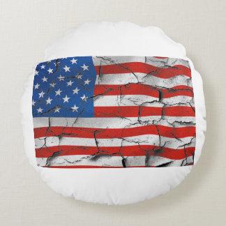 Patriotische Flagge-gebrochene getragene Farbe Rundes Kissen