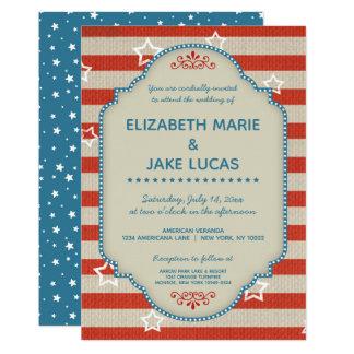 Patriotische Hochzeits-Americanaeinladung Karte