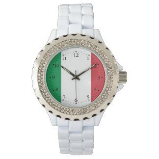 Patriotische italienische Flagge Uhr