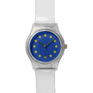 Patriotische Kinderuhr mit Flagge der europäischen Uhr