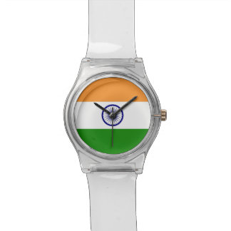 Patriotische Kinderuhr mit Flagge von Indien Uhr