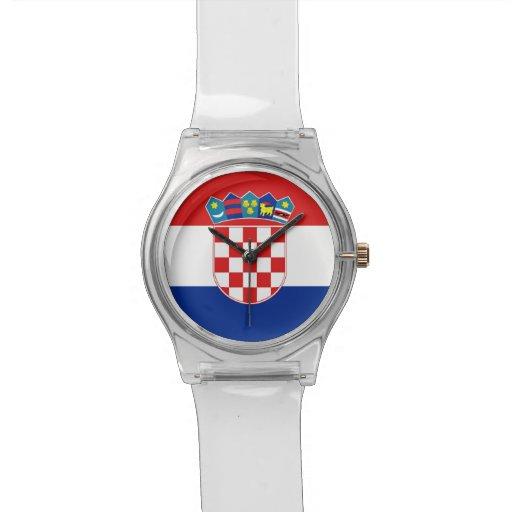Patriotische Kinderuhr mit Flagge von Kroatien Uhren