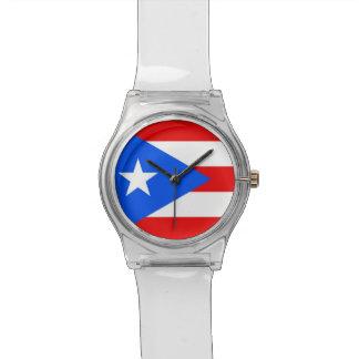 Patriotische Kinderuhr mit Flagge von Puerto Rico Uhr