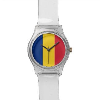 Patriotische Kinderuhr mit Flagge von Rumänien Armbanduhr