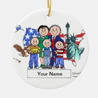 Patriotische Paare - drei Jungen Keramik Ornament
