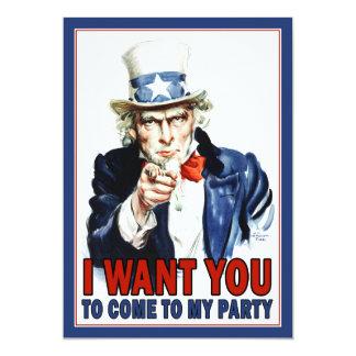 Patriotische Party Einladung: Vintager Uncle Sam 12,7 X 17,8 Cm Einladungskarte