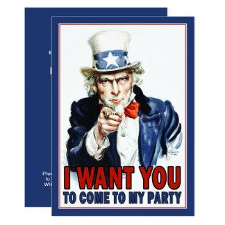 Patriotische Party Einladung: Vintager Uncle Sam Karte