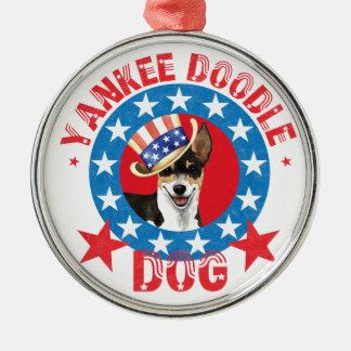 Patriotische Ratte Terrier Rundes Silberfarbenes Ornament