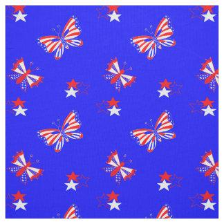 Patriotische Schmetterlinge und Sterne Stoff