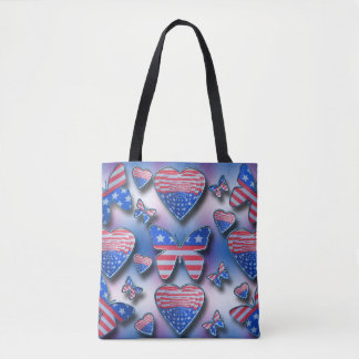 Patriotische Schmetterlings-Herzen Tasche