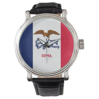 Patriotische, spezielle Uhr mit Flagge von Iowa