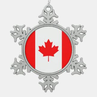 Patriotische Staatsflagge von KANADA Schneeflocken Zinn-Ornament