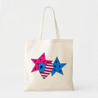 Patriotische Sterne und Herz-Tasche Tragetasche