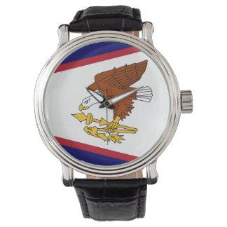 Patriotische Uhr mit Flagge von American Samoa