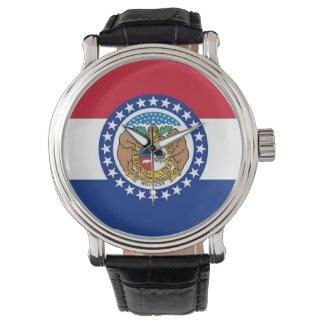 Patriotische Uhr mit Flagge von Missouri