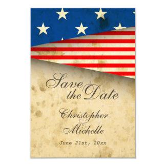Patriotische US-Flagge Vintages Wedding Save the 8,9 X 12,7 Cm Einladungskarte