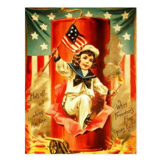 Patriotische Vintage Feuerwerk-Karte Postkarte