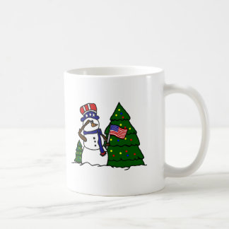 Patriotische Weihnachtssnowman-Kaffee-Tasse Kaffeetasse