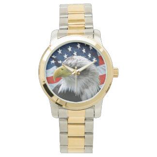 Patriotische Weißkopfseeadler-Flagge-Uhr Armbanduhr