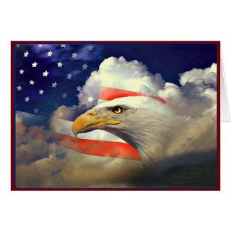Patriotischer Amerikaner Eagle und Flaggen-Karte Mitteilungskarte