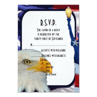 Patriotischer amerikanischer Adler, der R.S.V.P Ankündigungskarte