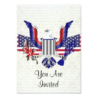 Patriotischer amerikanischer Adler u. Flagge 11,4 X 15,9 Cm Einladungskarte