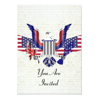 Patriotischer amerikanischer Adler u. Flagge 12,7 X 17,8 Cm Einladungskarte
