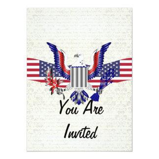 Patriotischer amerikanischer Adler u. Flagge 14 X 19,5 Cm Einladungskarte