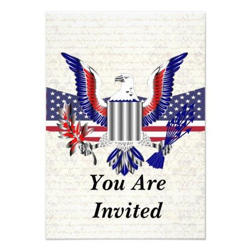 Patriotischer amerikanischer Adler u. Flagge Personalisierte Einladungen