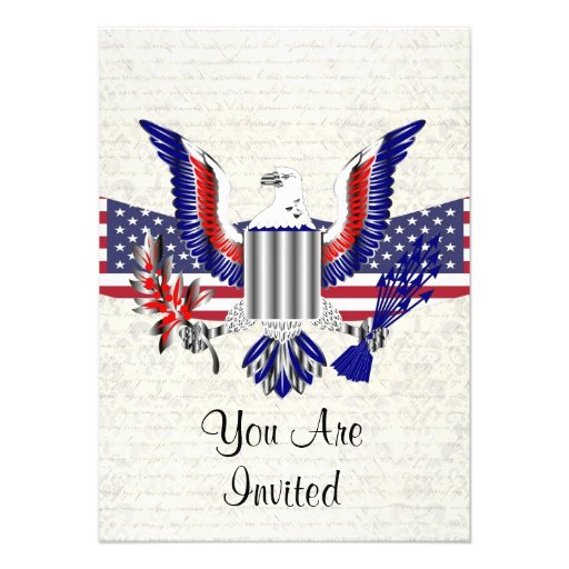 Patriotischer amerikanischer Adler u Flagge Ankündigungen